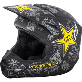 Fly Racing Matte Black/Charcoal/Yellow Elite Rockstar Helmet - 73-3308L