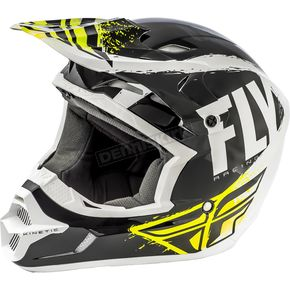 Fly Racing Youth Black/White Kinetic Burnish Helmet - 73-3391YM
