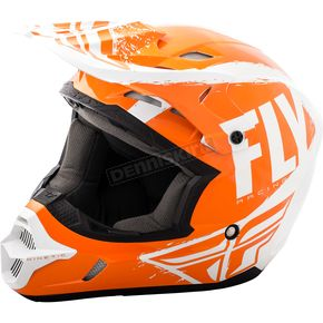 Fly Racing Orange/White Kinetic Burnish Helmet - 73-3398S