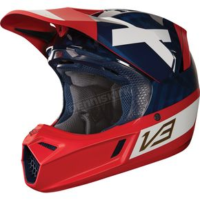 Fox Navy/Red MVRS V3 Preest Helmet - 19521-248-M