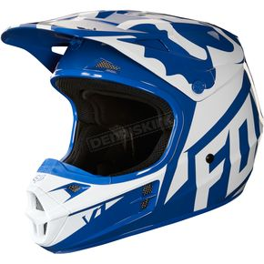 Fox Blue V1 Race Helmet - 19531-002-XL