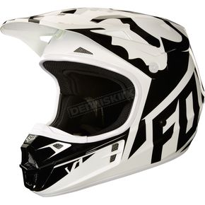 Fox White/Black/Green V1 Race Helmet - 19531-129-S