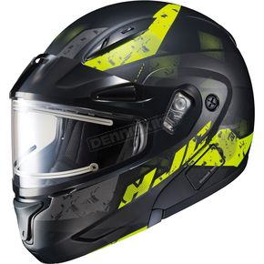HJC Semi-Flat Black/Hi-Viz CL-Max2SN Friction MC-3HSF Helmet w/Framed Electric Shield - 197-739