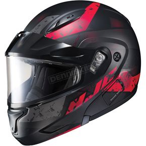 HJC Semi-Flat Black/Red CL-Max2 Friction MC-1SF Helmet w/Framed Dual Lens Shield - 997-717