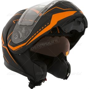 CKX Matte Black/Orange Tranz 1.5 RSV Vision Modular Snow Helmet w/Electric Shield - 508707#