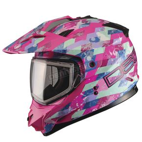 GMax Pink GM11S Checked Out Snowmobile Helmet w/Dual Lens Shield  - G2119404 TC-14