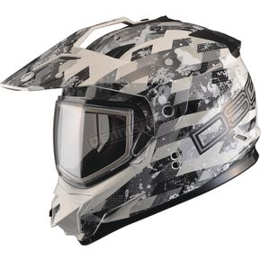 GMax White/Gray GM11S Checked Out Snowmobile Helmet w/Dual Lens Shield  - G2119318 TC-12
