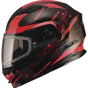 GMax Black/Red MD01 Wired Modular Snowmobile Helmet w/Electric Shield - G2014203 TC1 ELEC