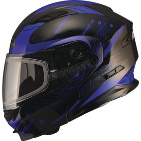 GMax Black/Blue MD01 Wired Modular Snowmobile Helmet w/Dual Lens Shield - G2014215 TC-2