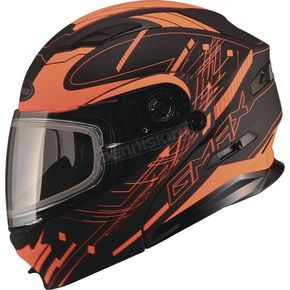 GMax Black/Hi-Vis Orange MD01 Wired Modular Snowmobile Helmet w/Electric Shield - G2014698 TC26 ELEC