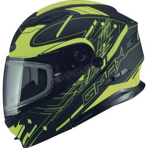 GMax Black/Hi-Vis Yellow MD01 Wired Modular Snowmobile Helmet w/Dual Lens Shield - G2014237 TC-24