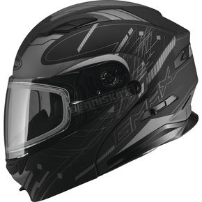 GMax Flat Black/Silver MD01 Wired Modular Snowmobile Helmet w/Dual Lens Shield - G2014555 TC-17