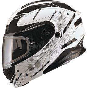 GMax Flat Black/White MD01 Wired Modular Snowmobile Helmet w/Dual Lens Shield - G2014609 TC-15