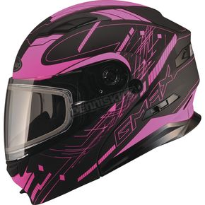 GMax Black/Pink MD01 Wired Modular Snowmobile Helmet w/Dual Lens Shield - G2014406 TC-14