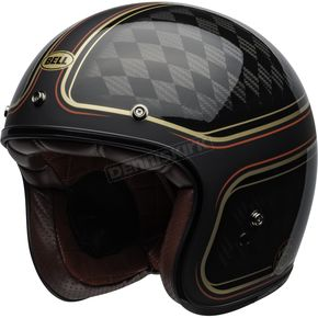 Matte/Gloss Black/Gold Custom 500 Carbon Roland Sands Design Checkmate Helmet