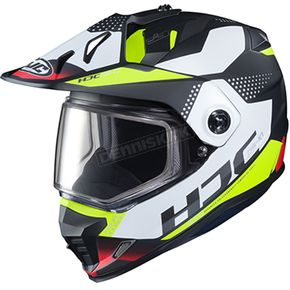 Semi-Flat Black/White/Hi-Viz DS-X1 Tactic MC-3HSF Snow Helmet w/Frameless Dual Lens Shield