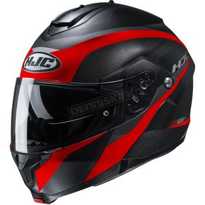 Semi-Flat Black/Red C91 Taly MC1SF Modular Helmet