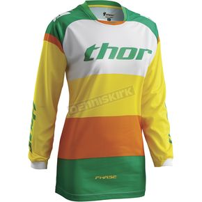 Thor Womens Green/Yellow Phase Bonnie Jersey - 2911-0118