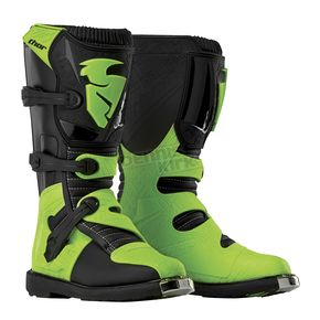 Thor Youth Black/Green Blitz Boots - 3411-0325