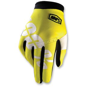 100% Youth Yellow I-Track Gloves - 10002-004-04