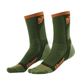 Thor Green/Orange Dual Sport Cool Socks - 3431-0281