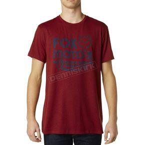 Fox Heather Red Scripted Premium T-Shirt - 15655-383-S