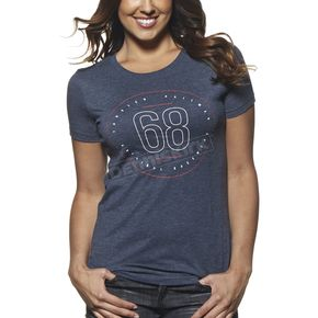 Thor Womens Vintage Navy Button T-Shirt - 3031-2542