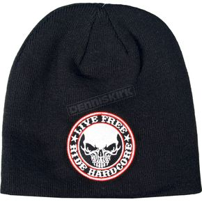 Hot Leathers Black Stencil Skull Beanie - KHB1025