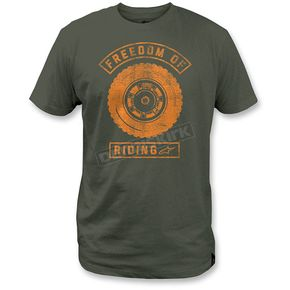 Alpinestars Military Green Freedom Lock Up T-Shirt - 1M3572052690M