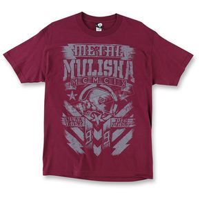 Metal Mulisha Mens Burgundy Chalk T-Shirt  - M455S18407BUR2X