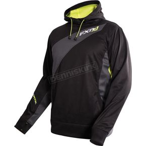 FXR Racing Black/Charcoal/Electric Lime Mission Pullover Tech Hoody - 16037.20107