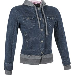 Speed and Strength Womens Blue Fast Times Denim Hoody Jacket - 87-1182