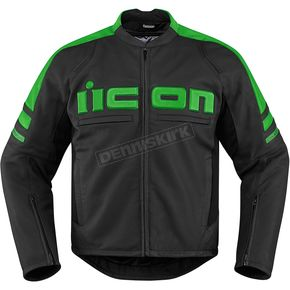Icon Black/Green Motorhead 2 Leather Jacket - 2810-2846