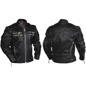 Interstate Leather Black Gangster Leather Jacket - I5015M