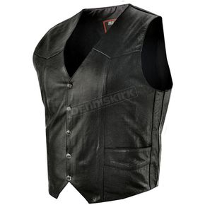 Interstate Leather Black Bishop Vest - I1301L