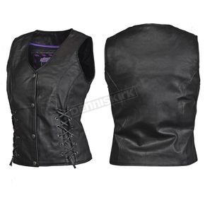 Interstate Leather Women's Black Dixie Vest - I3687XXL