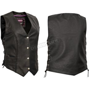Interstate Leather Women's Black Raven Vest - I1380XXL