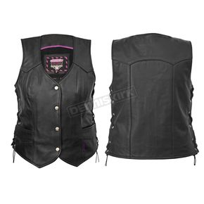Interstate Leather Women's Black Scarlett Vest - I593XL