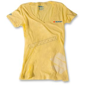 Factory Effex Womens  Yellow Suzuki V-Neck T-Shirt - 17-87444