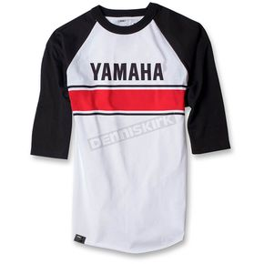 Factory Effex White/Black Yamaha Vintage Baseball T-Shirt - 17-87234