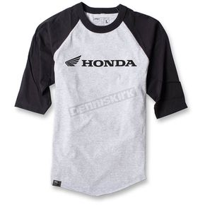 Factory Effex Gray/Black Honda Baseball T-Shirt - 17-87326