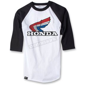 Factory Effex White/Black Honda Vintage Baseball T-Shirt - 17-87338