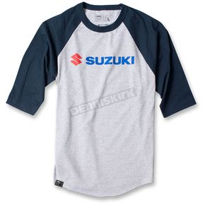 Factory Effex Gray/Navy Blue Suzuki Baseball T-Shirt - 17-87424