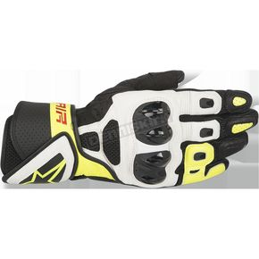Alpinestars Black/White/Fluorescent Yellow SP Air Leather Glove - 3558016-125-S