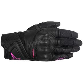 Alpinestars Women's Black/Pink Stella Baika Leather Glove - 3518916-1039-M