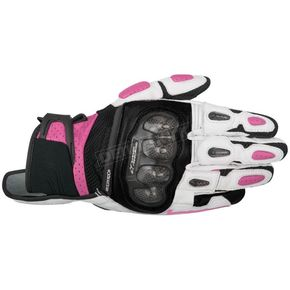 Alpinestars Stella Black/White/Fuschia SPX Air Carbon Leather Gloves - 3517716-1239-XS