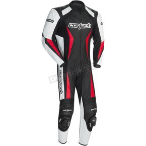 Cortech Black/White/Red Latigo 2.0 Leather Race-Ready One-Piece Suit - 8991-0201-06