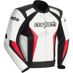 Cortech White/Red Latigo 2.0 Leather Jacket - 8992-0201-06