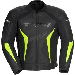 Cortech Black/Hi-Viz Latigo 2.0 Leather Jacket - 8992-0213-04