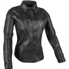 Speed and Strength Women's Leather Black Heart Moto Shirt - 879782